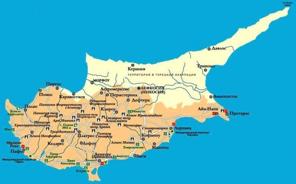 Turistkarta Over Cypern Cypern Plats Pa Varldskartan